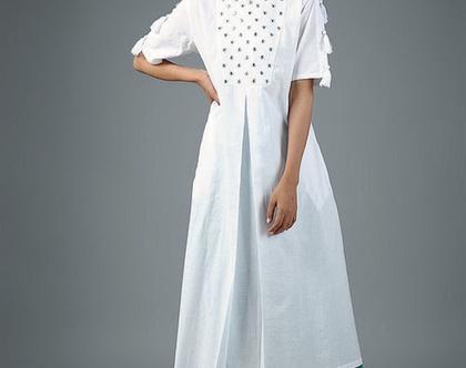 שמלת כותנה לבנה   דגם אניטה   סט שמלה ומכנסיים