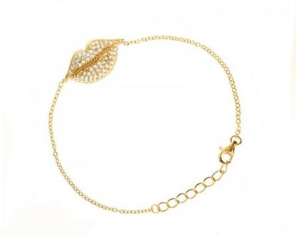 צמיד נשיקה בשיבוץ מיקרו בציפוי זהב- משלוח חינם