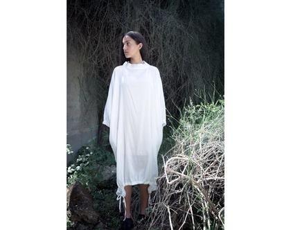 שמלת לבנה  שמלת sheer   שמלה עם צווארון