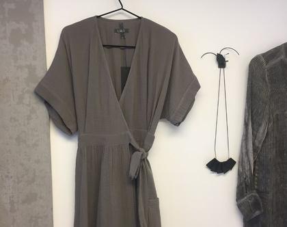 שמלת מעטפת   שמלה אפורה