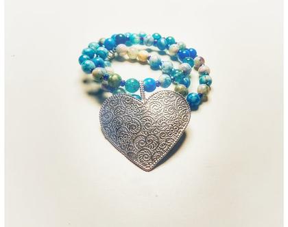 שרשרת כסף עם לב גדול, מחרוזת מתנה עם נוכחות. שרשרת עם אבנים כחולות. שרשרת עם נוכחות מתנה. מתנה תכשיט עם נוכחות