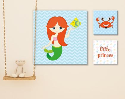 סט תמונות מעוצב | תמונה מעוצבת על קנבס | תמונות לחדר ילדים | בת הים הקטנה