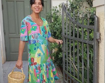 שמלה פרחונית, שמלת קיץ, שמלה צנועה, שמלה צבעונית, שמלה לאירוע יום, שמלה שרוול קצר, שמלת וינטג', שמלת פליסה, שמלה עד מתחת לברך