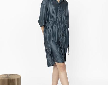 שמלת לונה   שמלת ניילון  שמלת כפתורים
