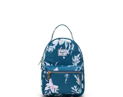 תיק גב | תיק לנערות | תיק לנשים | תיק גב הרשל | Nova mini Backpack |ירוק פרחוני | Herschel