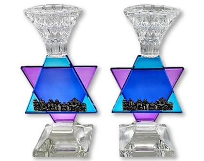 זוג פמוטות קריסטל מגן דוד כחול טורקיז ירושלים