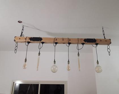 מנורה ל 6 נורות עץ מלא וברזל
