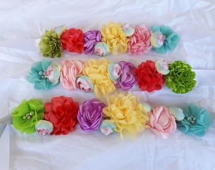חגורת סאטן פסטל גלידה | חגורת פרחים | חגורה צבעונית | חגורה לשושבינה | חגורה לילדה | חגורת סאטן | תחפושת חד קרן | תחפושת לילדה | תחפושת פיה