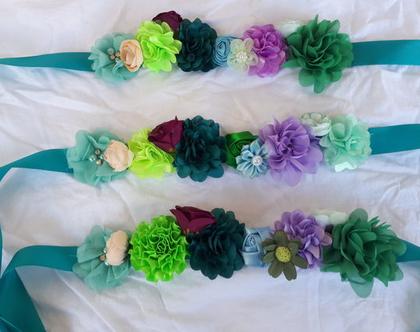 חגורת סאטן צבע אוקיינוס | חגורת פרחים | חגורה טורקיז | חגורה לשושבינה | חגורה לילדה | חגורת סאטן | תחפושת לפורים | תחפושת לילדה | תחפושת פיה