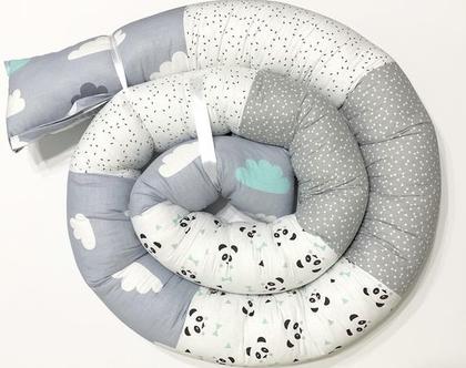 נחשוש 3 מטר | נחשוש למיטת תינוק | נחשוש המקיף את מיטת התינוק | נחשוש לכל המיטה | נחשוש ענק | נחשוש גדול | נחשוש לבת | נחשוש פנדה לבן טורקיז