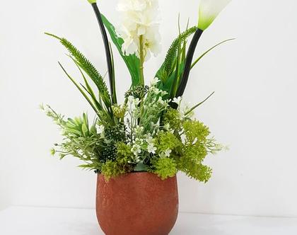 סידור פרחים מלאכותי ברונזה