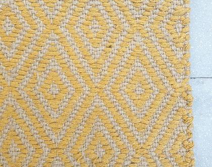 """שטיח ארוך יוטה וכותנה צהוב חרדל 210*140 ס""""מ"""