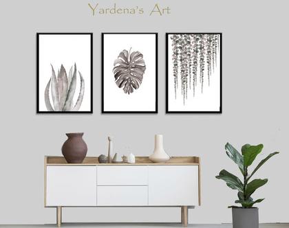 סט הדפסים - Botanical leaves בעיצוב מקורי | הדפס עלים צבעי ניוד | הדפסים בעיצוב מינימליסטי|עיצוב נורדי|תמונות לעיצוב הבית והמשרד