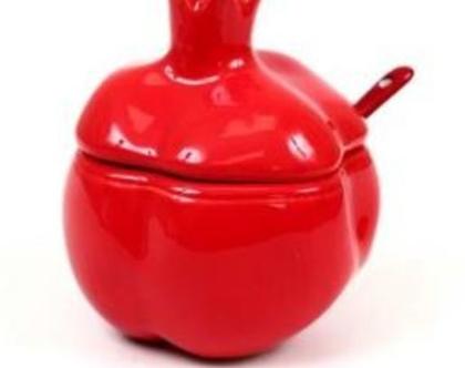 כלי לדבש בצורת רימון - אדום