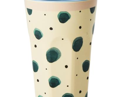 כוס מלמין לאטה הדפס צבעי מים ירוק | RICE DK | SOFI