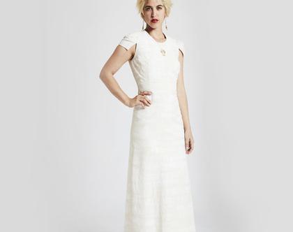 שמלת כלה מחוייטת עם שרוול כתף קטן מפוסל- שמלת כלה מקסי מחויטת מחטבת