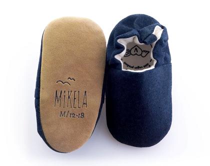 נעלי טרום הליכה | נעליים רכות לתינוק | מיני שוז | ג'ינס שחור
