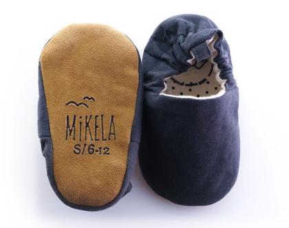 נעלי טרום הליכה | נעליים רכות לתינוק | מיני שוז | ג'ינס אפור