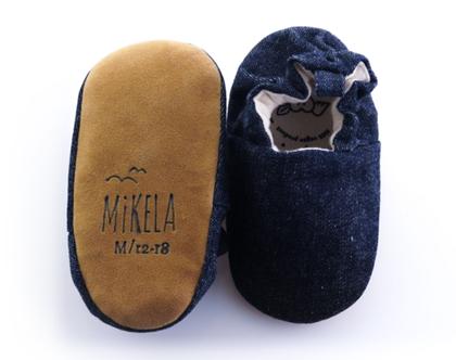 נעלי טרום הליכה | נעליים רכות לתינוק | מיני שוז | ג'ינס כחול נייבי