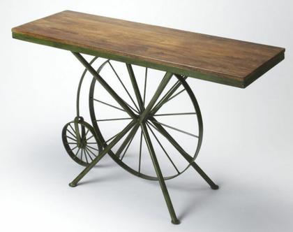 שולחן קפה בצורת אופניים מעץ מלא וברזל