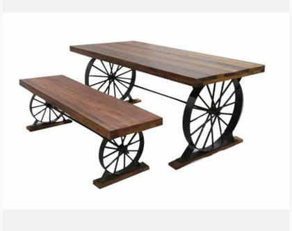 שולחן וספסל מעץ מלא וברזל