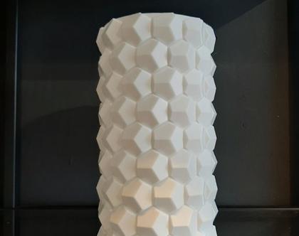 אגרטל דקורטיבי עם דוגמת משושים מודפס בתלת מימד