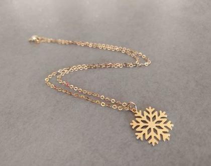 שרשרת פתית שלג | שרשרת לבת מצווה | שרשרת זהב לילדה | שרשרת גולדפילד עם תליון | מתנה לבת מצווה | שרשרת חורף | תליון שלג ציפוי זהב