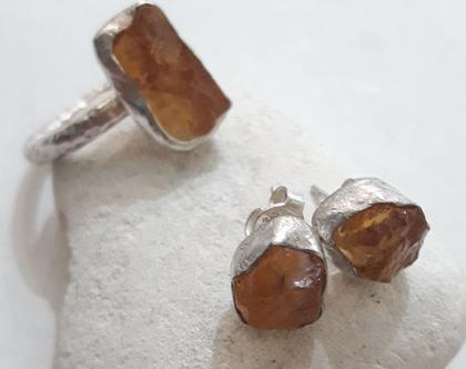 סט טבעת ועגילים עם סיטרין גולמית