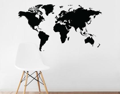 מדבקת קיר מפת העולם | מדבקה מפת העולם | מדבקות לחדרי ילדים | מדבקות לחדרי נוער | מדבקות לחדרי בנים | מדבקות לעיצוב החדר | עיצוב חדרי בנים
