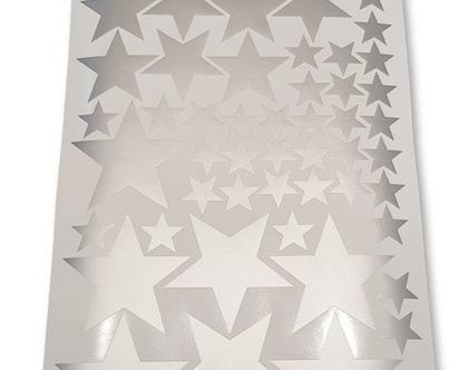 מדבקות כוכבים בצבע כסף בשלושה גדלים   עיצוב קירות חדרי ילדים בנות   מדבקות קיר   מדבקות קיר כוכבים כסף