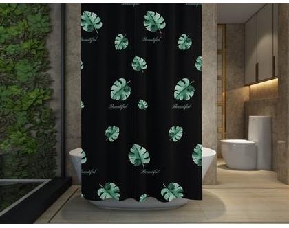 וילון אמבטיה שחור מעוצב l וילון למקלחת l וילון בד למקלחת