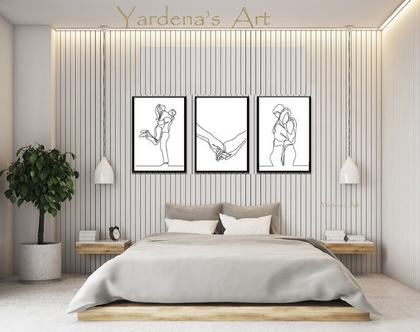 תמונות לחדר שינה - Romantic Love Art | סט תמונות אהבה בעיצוב מינימליסטי | הדפסים בעיצוב מינימליסטי|עיצוב נורדי|תמונות בשחור ולבן