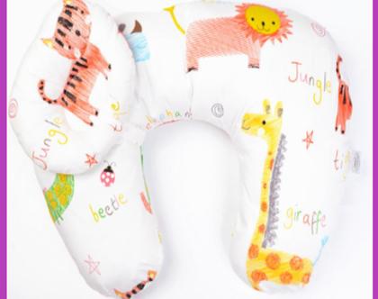 כרית הנקה ליולדת ולתינוק כרית בצורת U בונוס כרית הגבהה תואמת לאחיזת ראש התינוק