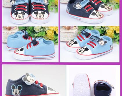 נעלי דיסני מיקי מאוס טרום הליכה וצעד ראשון מונעי החלקה לתינוקות ופעוטות