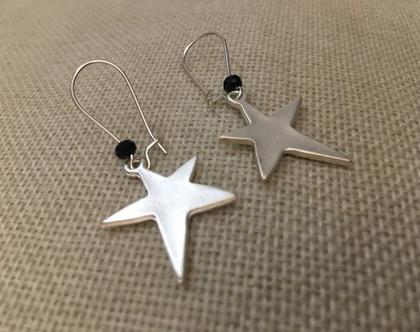 עגילי כוכב כסוף - עגילים נופלים כוכב