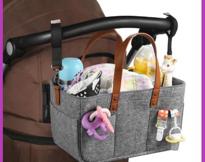 תיק אירגונית לאחסון חיתולים ואביזרי תינוקות נייד ,בעל כיסים עמוקים לארגון חדר הילדים