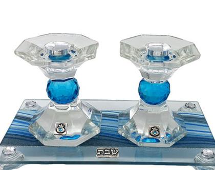 """8018-פמוט קריסטל מגש צבעוני כחול 12.5 ס""""מ"""