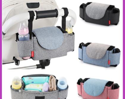 תיק חיתולים אירגונית לעגלת תינוק אופנתי וקומפקטי עמיד במים