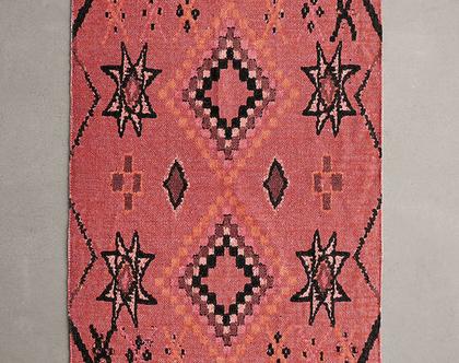 שטיח כותנה מרוקאי קטן בגווני ורוד
