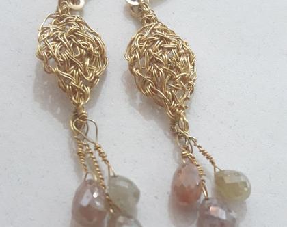 עגילי זהב סרוגים - עגילים עם טיפות יהלום - עגילים עם יהלומים