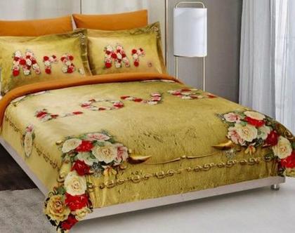 סט מצעים Roses זוגי כותנה פרקל בצפיפות גבוהה של 180 חוטים לאינטש