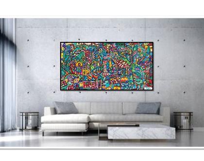 תמונה גדולה לבית, עיצוב פנים, תכשיטים לקירות של הציירת ענבר רייך ,ציורים צבעוניים, ציורים מקורים והדפסים משודרגים, אמנות ישראלית