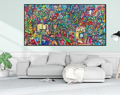 תמונה צבעונית לסלון, עיצוב פנים, תכשיטים לקירות של הציירת ענבר רייך ,ציורים צבעוניים, ציורים מקורים והדפסים משודרגים, אמנות ישראלית