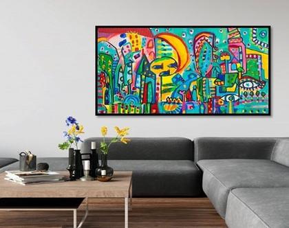 ציור של ענבר רייך, תמונה לבית ,ציור גדול לסלון, שם העבודה עיין טובה , אומנות ישראלית מקורית, הדפס בטכניקה משולבת, ציורים מקוריים .