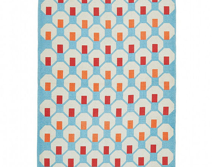 שטיח כותנה גיאומטרי תכול, שטיח כותנה תכלת, שטיח כותנה קטן, שטיח לחדר ילדים