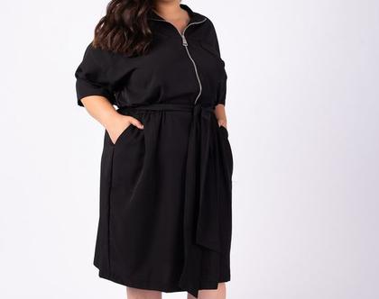שמלה שחורה מידי עם רוכסן