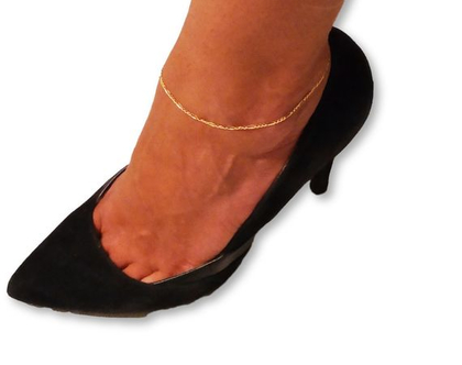 צמיד סינגפור זהב 14K לקרסול , לרגל 1.2mm יוקרתי ואיכותי לגבר או לאישה