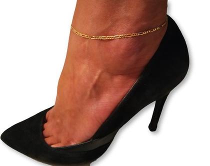 צמיד זהב פיגרו 14K לקרסול , לרגל 1.9mm יוקרתי ואיכותי לגבר או לאישה