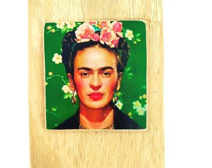 פרידה קאלו, איור על עץ ממוחזר  תמונה לסלון מתנה עיצוב לבית 