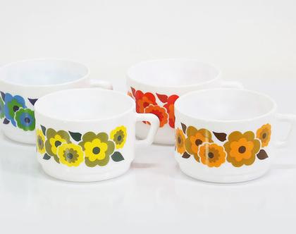 4 כוסות קפה וינטאג׳ צרפתיות